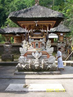 Gunung Kawi is an 11th-century Hindu temple complex in Tampaksiring north east of Ubud in Bali, Indonesia. It is located near the river Pakrisan. The complex comprises 10 rock-cut candi (shrines) carved into the cliff face They are 7-m-high (23 ft) sheltered niches cut into the sheer cliff face. These monuments are thought to be dedicated to King Anak Wungsu of the Udayana dynasty and his favourite queens. There are 3 temples with the same name: of Sebatu, Keliki & Gunung Kawi