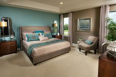 Blue And Tan Bedroom