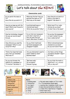 This worksheet contains 18 conversation cards and two vocabulary matching exercises (one with pictures). The cards can be cut out if desired and be used as conversation. English Talk, English Fun, English Writing, English Words, English Lessons, English Grammar, Teaching English, Learn English, English Language