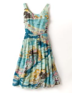 Boden Nancy Dress. Love that fabric. Makes me want to be in a seaside Italian town or On the French Riviera with a great big beach hat.