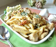 Artichoke & Spinach One-Pot Pasta Recipe | This one-pot pasta recipe is made with chicken breasts, fresh spinach and more. It's a simple weeknight dinner with less dishes to do at the end.