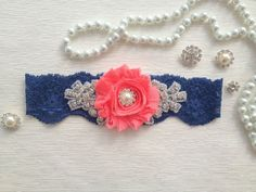 wedding garter , navy blue/coral bridal garter, navy blue lace garter, coral chiffon flower and pearl/rhinestone  bet i could make one of those...