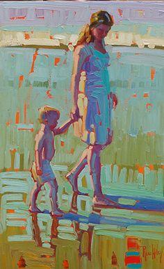 """Beach Walk,"" by Rene Wiley by Rene' Wiley Gallery Oil ~ 20 x 12"