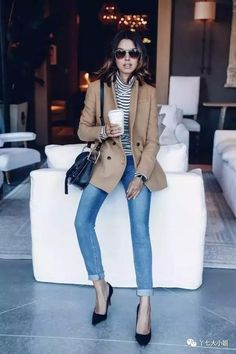 aviator sunglasses, striped turtleneck, camel blazer, cuffed jeans and black pumps // casual chic style Daily Fashion, Fashion Mode, Womens Fashion, Fashion Trends, Latest Fashion, Net Fashion, Fashion Ideas, Fashion 2018, Fashion Bloggers