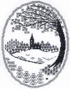 Landscape - blackwork pattern by Berlin Embroidery Designs