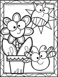 Spring Coloring Pages, Coloring Book Art, Coloring Pages For Boys, Animal Coloring Pages, Coloring Sheets, Coloring Book Pages, Art Drawings For Kids, Doodle Drawings, Doodle Art