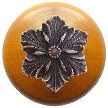 Opulent Flower Wood Knob in Antique Solid Bronze/Maple wood finish…