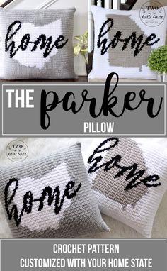 Crochet state pillow, modern farmhouse decor, gift for graduate, dorm room decor Diy Crochet Pillow, Crochet Cushion Pattern, Crochet Cushions, Tapestry Crochet, Crochet Gifts, Crochet Patterns, Crochet Ideas, Graph Crochet, Pillow Patterns