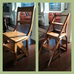 "Found this awesome chair to ladder combo on Craigslist. Might be a great way to hide stairs to a short loft or general ""reach it"" ladder in a tiny house! DwellTiny.com"
