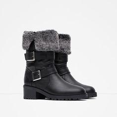 Zara Leather Biker Boots With Faux Fur Lining Sz 9