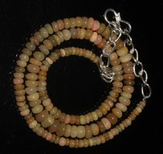 """44 Crts 1 Necklace 3to6mm 15"""" Beads Natural Ethiopian Welo Fire  Opal  61803"""