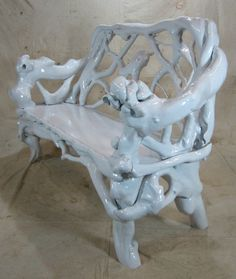1stdibs.com | White Enameled Rootwood Bench