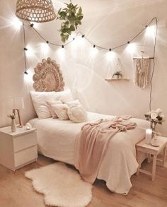 Stick with for the most part white hues and light strings to get a boho bedroom .Thanks for this post.Stick with for the most part white hues and light strings to get a boho bedroom like in this plan! A couple of white flies of # bedroom Cute Bedroom Ideas, Room Ideas Bedroom, Girl Bedroom Designs, Small Room Bedroom, Bedroom Inspo, Master Bedroom, Dorm Room, Girls Bedroom, Hippie Bedrooms