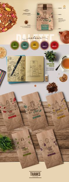 Design of packaging for a brand of organic teas inspired by different pleasure and wellness experiences. Selected tea combinations represented by our spiritual teachers. It´s an Eco pack fun and friendly, that reflects the essence of the br Organic Packaging, Tea Packaging, Food Packaging Design, Packaging Design Inspiration, Brand Packaging, Branding Design, Identity Branding, Brochure Design, Visual Identity
