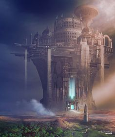 ArtStation - The City of the Ascended, Steve Palmerton Fantasy City, Fantasy Castle, Fantasy Places, High Fantasy, Sci Fi Fantasy, Fantasy World, Fantasy Concept Art, Fantasy Artwork, Sci Fi Stadt
