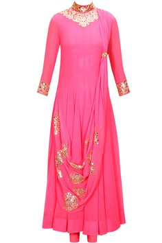 Hot pink foil work draped anarkali set  by Cita9. Shop now: www.perniaspopups.... #anarkali #elegant #designer #cita9 #pretty #clothing #shopnow #perniaspopupshop #happyshopping