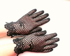 Victorian Lace Wedding Gloves,Civil War Black Crochet Gloves for Brides Mother,Vintage Cotton Women's Gloves Gothic Style,Bridesmaid Gift Black Lace Gloves, Mercerized Cotton Yarn, Cotton Gloves, Wedding Gloves, Lace Socks, Victorian Lace, Crochet Gloves, Evening Outfits, White Bridal