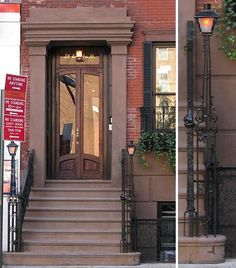 Row house stoop with gas lighting