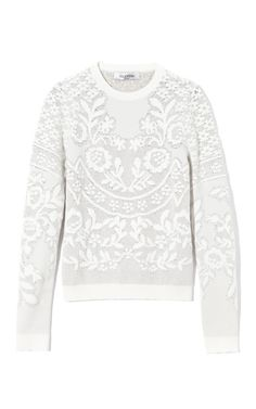 white sweatshirt, sweater, baroque, subtle pattern, monochrome, crew neck, elegant, modern, layer from: modaoperandi Valentino