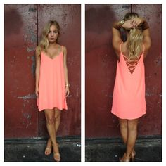 Neon Coral Spagetti Strap Dress http://www.daintyhooligan.com/collections/dresses/products/neon-coral-spagetti-strap-dress