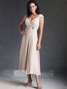 Ivory Satin/Chiffon/Lace V-neck Ruffle/Beading Column Tea-length Mother of the Bride Dress