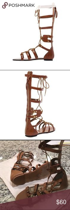 Cynthia Vincent Cognac Athena Gladiator Sandals Twelfth Street by Cynthia Vincent Athena Lace Up Embossed Leather Gladiator Sandal in Cognac. Size 8. Zips in back so you don't have to unlace every time you wear them. Worn for my wedding only once. Still in great gently used shape. I don't have original box, but I do have the original dust bag, which I keep them in. Great for the beach or with a cute mini!!! 😎 Twelfth Street by Cynthia Vincent Shoes Sandals
