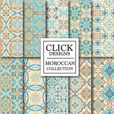 Moroccan Digital Paper: RETRO MOROCCAN TILES 10 vintage digital paper pack RETRO MOROCCAN TILES retro seamless mosaic scrapbook papers in turquoise, yellow and coral, Lisbon, Portuguese tiles, arabesque, ethnic style. Perfect for any creative project like scrapbooking, birthday parties,
