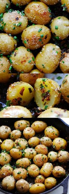 Garlic Chive Butter Roasted Potatoes – roasted baby potatoes with garlic, chives, butter and Parmesan cheese. The only roasted potatoes recipe you'll need | rasamalaysia.com