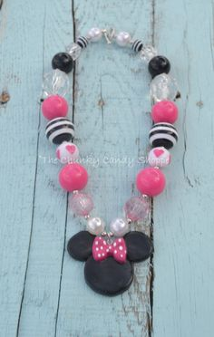 Baby/Toddler pink and black Minnie Mouse chunky necklace.