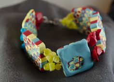 Playful red, yellow, and blue bracelet