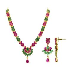 Gold Plated Emerald and Ruby Color Indian Ethnic Flower Earrings Necklace Set. The necklace 17 to 18.5 inch long adjustable and comes with S-hook clasp. The ear