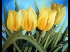Pintura multicarga pintar tulipanes , tulips painting - YouTube