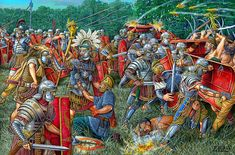 Romans battle against Dacians, by Angel Garcia Pinto. Roman Emperor Trajan invaded Dacia by crossing the river Danube with a boat-bridge and inflicted a crushing defeat on the Dacians at the Second Battle of Tapae in 101 AD Military Art, Military History, Ancient Rome, Ancient History, Celtic, Roman Armor, Rome Antique, Roman Warriors, Roman Legion