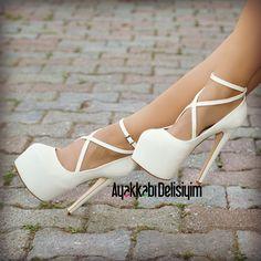 Gelin Ayakkabısı, beyaz topuklu ayakkabı #bride #shoes #gelin #gelinlik