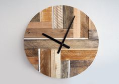 Pallet wood, weathered, recycled wooden clocks with battery operated clock work. These are made in Russia. Look very good ;)