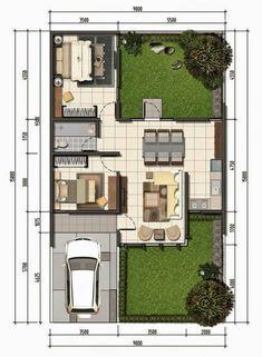 Beluluane Plus 1 Simple House Design, Dream Home Design, Home Design Plans, Modern House Design, Model House Plan, Small House Plans, House Floor Plans, Small House Layout, House Layouts