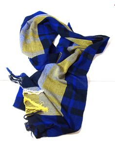 Blue and gold woven scarf