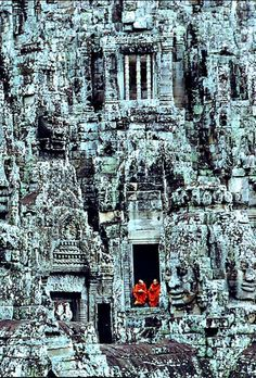 (1968) The Monks. Angkor Thom - Cambodia was the last and most enduring capital city of the Khmer empire.