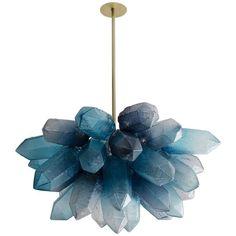illuminated crystal cluster chandelier lamp by jeff zimmerman, 2016 Home Design, House Design Photos, Modern House Design, Interior Lighting, Home Lighting, Pendant Lighting, Luxury Lighting, Black Chandelier, Modern Chandelier