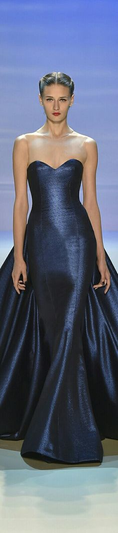 GEORGES HOBEIKA  ❤ Wedding Inspirasi Haute Couture Collection ~ Gown Is Strapless in Hourglass Shape w. Flowing Train In Navy Blue Colour ❤ F/W 2014-2015.