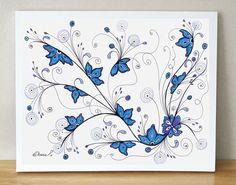 Sky Blue Lilac Flowers drawing / Christmas Gift Idea / Fantasy Art / Original Painting / Home & Wall decor https://www.etsy.com/listing/202637646/sky-blue-lilac-flowers-drawing-christmas?ref=shop_home_active_5