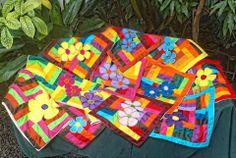 Taies d'oreiller patchwork et appliques de fleurs