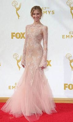 Caitlin Gerard Long Sleeve Red Carpet Dress With Embroidery At 67th Emmy Awards Formal Dress.prom dresses,formal dresses,ball gown,homecoming dresses,party dress,evening dresses,sequin dresses,cocktail dresses,graduation dresses,formal gowns,prom gown,evening gown