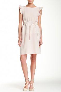 Flutter Sleeve Silk Dress