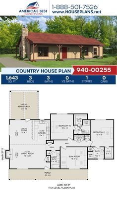 Offering 1,643 sq. ft., Plan 940-00255 features a Country home design with 3 bedrooms, 3 bathrooms, and an open floor plan. #countryhome #architecture #houseplans #housedesign #homedesign #homedesigns #architecturalplans #newconstruction #floorplans #dreamhome #dreamhouseplans #abhouseplans #besthouseplans #newhome #newhouse #homesweethome #buildingahome #buildahome #residentialplans #residentialhome Country House Design, Country House Plans, Best House Plans, Dream House Plans, Building Plans, Building A House, Private Garden, Garden Spaces, Open Floor