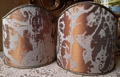 Pair of Clip-On Shield Shades Grey and Gold Jacquard Rubelli Fabric Gritti Pattern Mini Lampshade - Made in Italy by OggettiVeneziani on Etsy
