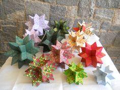 Giramundo - Estrelas da Felicidade. De papelão e tecido. Três tamanhos.