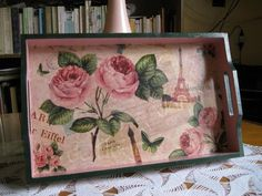 Explore alcampaa's photos on Photobucket. Napkin Decoupage, Decoupage Paper, Painted Boxes, Hand Painted, Eiffel Tower Craft, Shabby Chic Accessories, Decoupage Printables, Decoupage Furniture, Tray Decor