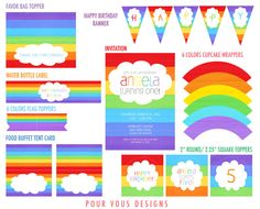 Rainbow Birthday Party Printables Set - Invitation, Cupcake wrappers & toppers, and more. $22.00, via Etsy.