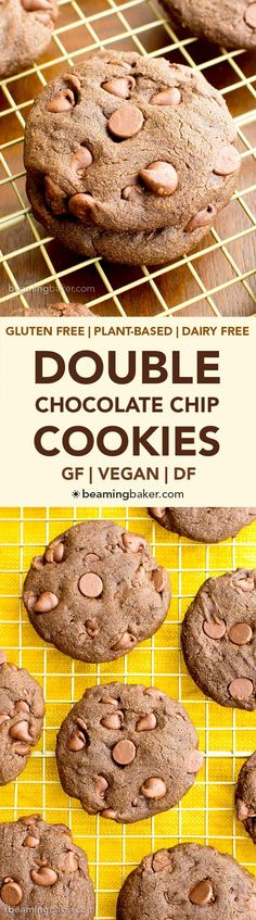Most decadent chocolate chip cookie recipe - Cookie man recipes Gluten Free Baking, Vegan Baking, Gluten Free Desserts, Dairy Free Recipes, Vegan Desserts, Easy Desserts, Delicious Desserts, Dessert Recipes, Double Chocolate Chip Cookies